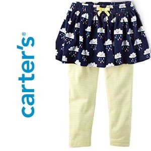 Carter's Skirt Leggings with Smiling Rain Clouds